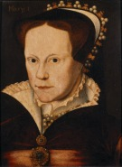 PORTRAIT OF MARY TUDOR artist not known but in the style of Flicke, Painted onto wood, found at Anglesey Abbey